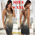 Sexy Gold Black Mini Sequin Dress Clothing Sleeveless Backless Dresses For Women