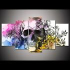 Abstract Art Skeleton and Flower 5 pieces Canvas Wall Poster Picture Home Decor