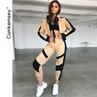 Women Autumn Sporting 2 Piece Sets Clothes Streetwear Short Baseball Jackets