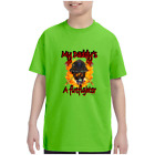 Youth Kids T-shirt My Daddy's A Firefighter Mask Fireman