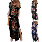 Women's Flower Casual Loose Pocket Long Dress Short Sleeve Split Maxi Dresses DA