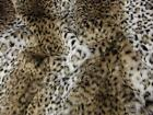 LUXURY Faux Fur Fabric Material - BROWN & WHITE OCELOT