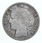 Roughly Size of Quarter - 1887 France 1 Franc - World Silver Coin *019