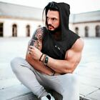 Men Summer Hooded Tank Shirt Solid Color Stitching Print Fashion Sportswear Hood