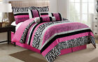 Hot Pink White Black Zebra Leopard Tiger Animal Print QUEEN Size Comforter Set