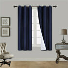 2 PANEL 100% THERMAL BLACKOUT BRONZE GROMMET WINDOW LINED PANEL CURTAIN AAA 63""