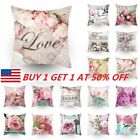 Flower Colorful Sofa Pillowcase Pink Cushion Cover Throw Pillow Case Decor T99 image