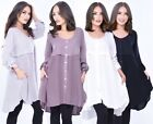 Boho Oversize Basic Blouse Top - Long Sleeve Button Down Style - Plus Sizes A297