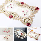 Reusable Dining Table Place Mat Vintage Embroidered Lace Fabric Placemat Floral