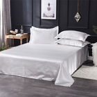 Ice Silk Flat Bed Sheet Solid Bedspread Comfort Bedding Quilt Cover Pillowcase