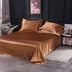 Satin Silk Flat Bed Sheet Solid Bedspread Comfort Bedding Quilt Cover Pillowcase image