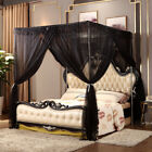 Black Bed Canopy Mosquito Netting Post Bedding Insect Net Twin Full Queen King image