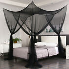 Black 4 Corner Post Mosquito Net Curtain Bed Canopy Outdoor Indoor Fit All Sizes image