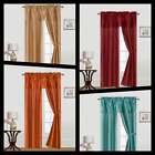 5PC SET SOLID WINDOW CURTAIN FAUX SILK PANEL ATTACHED VALANCE AND TIEBACKS 84""