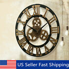 Vintage Retro Outdoor Garden Wall Wooden Clock Big Roman Numeral Giant Open