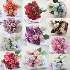 12 Head Silk Rose Fake Flower Wedding Bouquet Home Decor Party Decoration