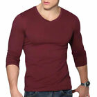 US Men's V Neck Long Sleeve T-Shirt Slim Fit Casual Solid Color Basic Tee Shirts