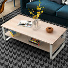 Simple Style Modern Living Room Double Coffee Table47×22.8Ich Black/White/Yellow