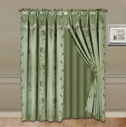 """NEW LUXURY FAUX JACQUARD PANEL WITH ATTACHED VALANCE NADA SET 120"""" WIDE  <br/> MANY SOLID COLORS AVAILABLE SIZE 63"""" AND 84"""" LONG"""
