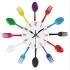 Wall Clock Modern Spoon Fork Ladle Cutlery Utensil Design Kitchen home Decor