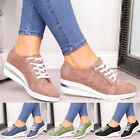 Women Ladies Casual Sneakers Mid Heel Lace Up Comfy Fashion Pure Sports Shoes