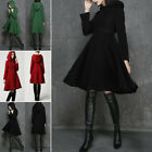 Women Winter Warm Hooded Button Slim Trench Long Coat Jacket Outwear Parka Tops
