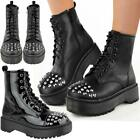 Womens Ladies Studded Chunky Ankle Boots Platform  Classic Retro Punk Goth