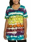 Ulla Popken MULTI Stretch Cotton Tie Dye Print Tunic Top Plus Size 16/18 - 36/38