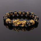 Feng Shui Black Obsidian Beads Bracelet Attract Wealth & Good Luck Bangle Gift