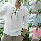 US Men Casual T-shirt Henley Shirt Slim Fit V Neck Short Sleeve Muscle Tee  Tops image