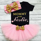 3PCS Newborn Baby Girls Clothes Romper Jumpsuit+Tutu Skirt+Headband Outfit Sets