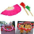 Colorful Silk Veil Folk Art Chinese Belly Dance Dancing Bamboo Short Fan W Y