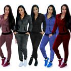 Women 2-piece Long Sleeves Sport Outfit Hoody Casual Jumpsuit Playsuit Work Wear