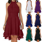 Women's Chiffon Sleeveless Halter Neck Swing Dress Evening Gown Party Cocktail
