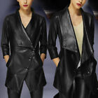 Women Coat Ladies Tops Formal Coat Faux Leather Jacket Fashion Tops Slim Fit