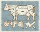 cuttings of beef Cow - VINTAGE ADVERTISING ENAMEL METAL TIN SIGN WALL PLAQUE