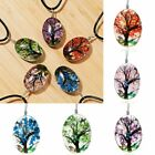 Fashion Tree Butterfly Flower Glass Leather Necklace Pendant Women Jewelry Gifts