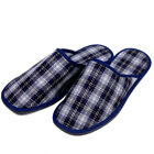 Blue Men's Slippers Wool Blend Check House Shoes Not Slippery!
