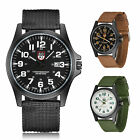 Round Dial Nylon Strap Band Men Boy Military Army Quartz Date Wrist Watch Gift
