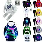 Kids Boys DJ MarshMello Mask Costumes Set Hoodie Pants Outfits Cosplay Clothes
