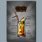 DRINKS AND COCKTAILS Metal Poster Wall Art TEQUILA SUNRISE