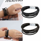 Fashion Mens Punk Leather Wrap Braided Wristband Cuff Punk Bracelet Bangle Gift