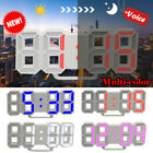 Modern Digital 3D White LED Wall Clock Alarm Clock Snooze 12/24 Hour Display NEW