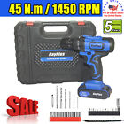 NEW 21V Power Cordless Drill Driver Electric Rechargeable With 2x Li-Ion Battery