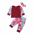 Newborn Infant Baby Girl Tops Romper Floral Pants Headband Outfits Xmas Clothes