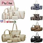 6Pcs/Sets Women Lady Brand PU Leather Handbags Shoulder Purse Tote Bags Wallet image