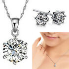 Bridesmaid Crystal Necklace Earrings Jewellery 925 Silver Wedding Jewelry Set UK