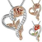 Women Charm Wedding Love Jewelry Rose Flower Pendant Necklace Heart Zirconia