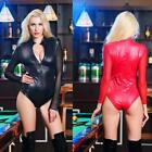 Sexy Black Red Gothic Bodysuit Catsuit Romper Goth Playsuit Mesh Sleeve Leotard