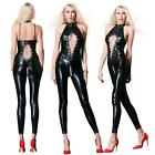 Sexy Lace up Open Crotch Faux Leather Bodysuit Wet Look Catsuit Jumpsuits SH160